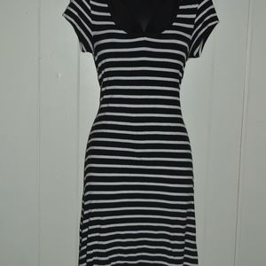 Black & White Striped Midi Dress
